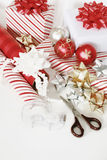 Christmas wrapping tools stock photos