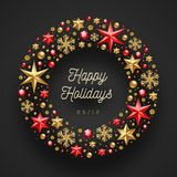 Christmas wrearh made from stars, gems and beads Royalty Free Stock Photos