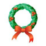 Christmas Wreath. A nice Christmas wreath with bow illustration Stock Photos