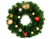 Christmas wreath. Decorative christmas wreath isolated over white stock photo