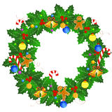 Christmas wreath. Beautiful Christmas wreath with colorful christmas ornaments isolated on white background Stock Photos