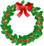 Christmas wreath. Beautiful Christmas wreath with red berries isolated on white background Stock Photos