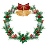 Christmas wreath. Isolated on white background. Vector Stock Photo