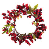 Christmas wreath. With red berries and leaves isolated over white royalty free stock photos