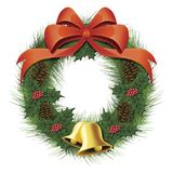 Christmas Wreath. Vector illustration of a christmas wreath with a bow, pine cones, bells and berries Royalty Free Stock Photography