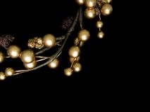 Christmas wreath. Gold color on black background Royalty Free Stock Photo