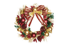 Christmas Wreath. An isolated holiday Christmas wreath over white stock image