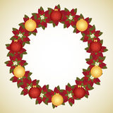 Christmas wreath. Illustration of a Christmas wreath with poinsettia and decorated balls.Useful as greeting card.EPS file available Royalty Free Stock Photography