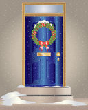 Christmas wreath. An illustration of a christmas holly wreath hanging on a blue front door with snow Royalty Free Stock Photography