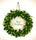Christmas wreath. Realistic christmas wreath with fir and mistletoe - rope and nail are grouped and easily removable Stock Photos