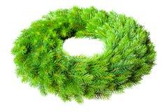 Christmas wreath. Green round Christmas wreath on white background Stock Photo