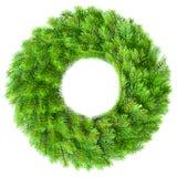 Christmas wreath. Green round Christmas wreath on white background Stock Image