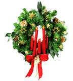 Christmas wreath. On white. Wooden candles Royalty Free Stock Images