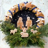 Christmas wreath. With gingerbread cookies Royalty Free Stock Photography