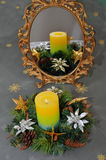 Christmas wreath. Is reflected in the mirror Royalty Free Stock Photography