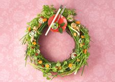 Christmas wreath. A Christmas wreath made out of vegetables Royalty Free Stock Photos