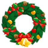 Christmas  wreath. Christmas decoration -  fir  wreath with holly leaves and berries, pine cones, baubles, gold hand bells isolated on white background Royalty Free Stock Images