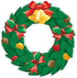 Christmas  wreath. Vector christmas decoration -  fir  wreath with holly leaves and berries, pine cones, baubles, gold hand bells isolated on white background Stock Images
