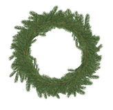 Christmas Wreath. Made from lot of fir twigs on white background royalty free stock image