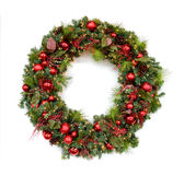 Christmas Wreath. Over white background Stock Photos