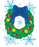 Christmas wreath. Full color vibrant illustration of a christmas wreath with snow stock illustration