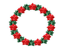 Christmas Wreath. Made out of bows royalty free stock photo