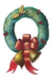 Christmas wreath. With colored ribbon and ornaments. Hand painted illustration Royalty Free Stock Photography