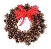 Christmas wreath. Christmas pine wreath with red bow stock photography