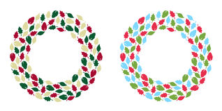 Christmas wreath. Illustration in 2 styles Stock Images