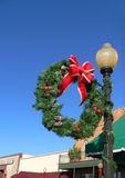 Christmas Wreath. On Light Pole Royalty Free Stock Image