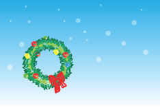 Christmas wreath - 5 of 6 christmas cards. Christmas wreath on snowing background, christmas greetings. 1 of the 6 same styled christmas cards i draw, please Stock Image