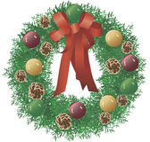 Christmas Wreath. Created in Illustrator, this Christmas Wreath will enhance promotions or greeting cards Stock Photos