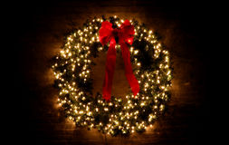 Christmas Wreath. Glowing with Lights Royalty Free Stock Image