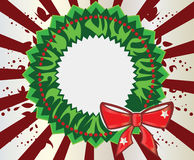 Christmas wreath. Green wreath on a radial background Vector Illustration