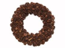 Christmas wreath. Wreath made from pine cones isolated on white Royalty Free Stock Photo