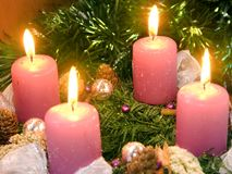 Christmas wreath. With violet candles stock photo