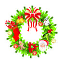 Christmas wreath. With colorful ornaments and beads illustration Stock Photos