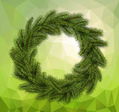 Christmas wreath on abstract background. Christmas green wreath on abstract mosaic background. Vector christmas decoration Stock Photo