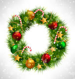 Christmas wreath with adornments on grayscale Stock Images