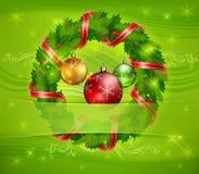 Christmas Wreath And Balls Stock Photography