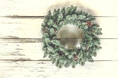 Christmas wreath, decoration, holiday, antique, wooden background, door, Greeting card. copy space. Christmas wreath on an antique white wooden background or on stock image