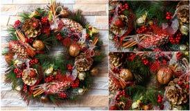 Christmas wreath artificial handmade Stock Photography