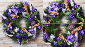 Christmas wreath artificial handmade Stock Photos