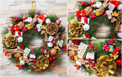 Christmas wreath artificial handmade. Christmas artificial wreath handmaded with many details Royalty Free Stock Image
