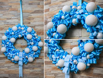 Christmas wreath artificial handmade. Christmas artificial wreath handmaded with many details Stock Photos