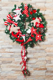 Christmas wreath artificial handmade. Christmas artificial wreath handmaded with many details Royalty Free Stock Photos