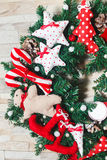 Christmas wreath artificial handmade. Christmas artificial wreath handmaded with many details Stock Photography