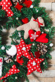 Christmas wreath artificial handmade. Christmas artificial wreath handmaded with many details Stock Images
