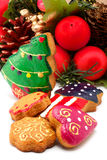 Christmas wreath. Assorted cookies Stock Images