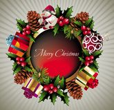 Christmas wreath background. Gift snowman  pinecone berry bow  leaf  wreath Royalty Free Stock Photo